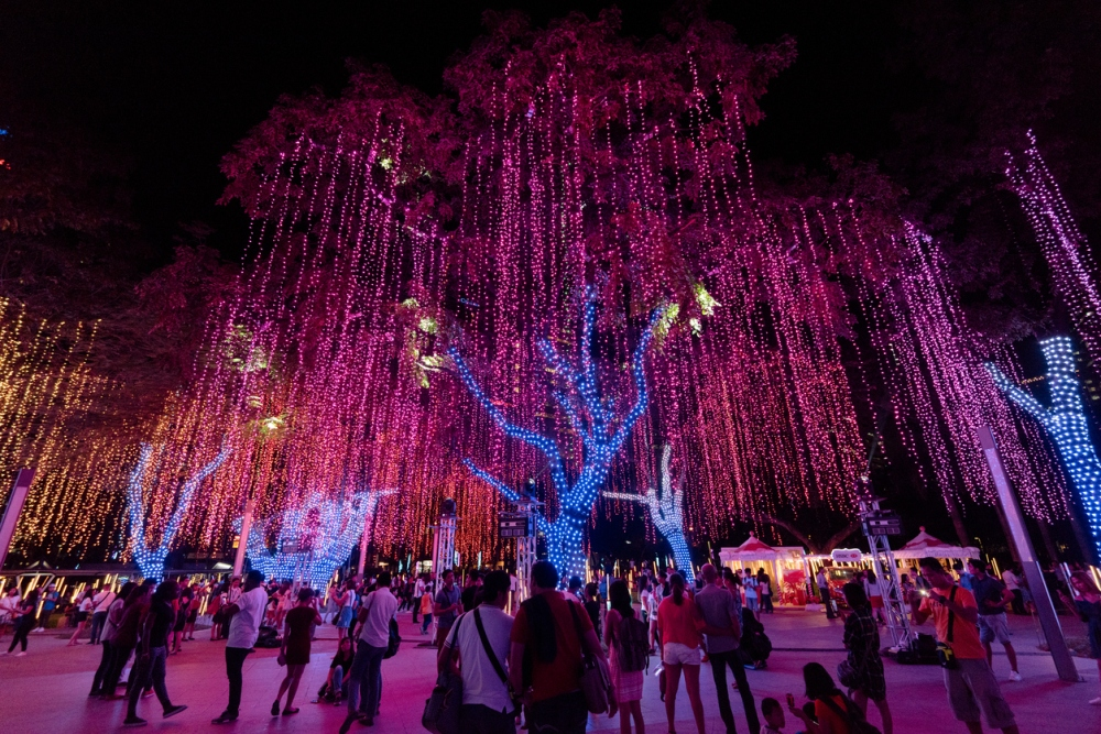 Christmas Lights at Ayala Triangle in Makati, Manila - Philipppines.